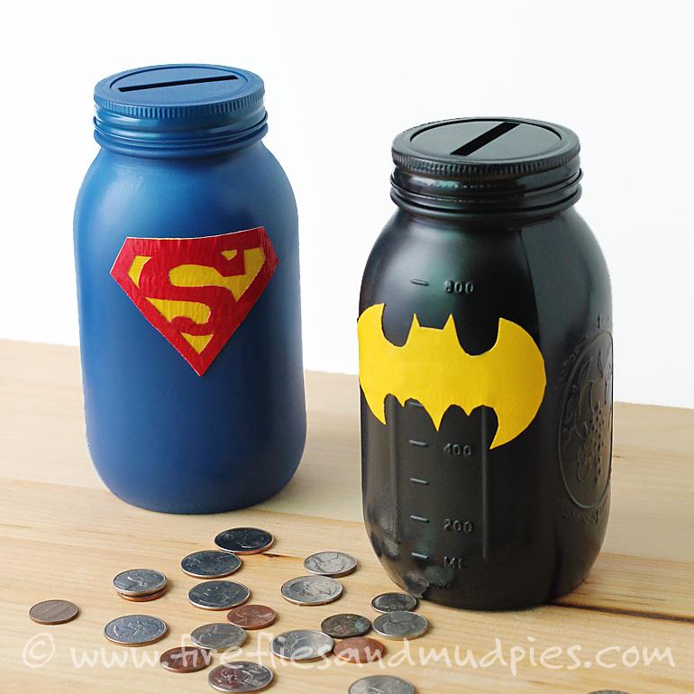 From: http://www.firefliesandmudpies.com/2014/09/14/mason-jar-superhero-banks/